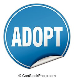 adopt round blue sticker isolated on white