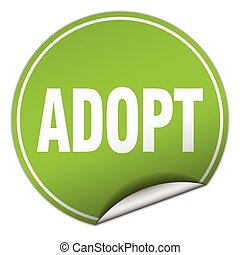 adopt round green sticker isolated on white