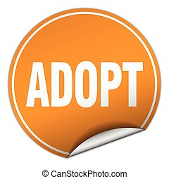 adopt round orange sticker isolated on white