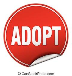 adopt round red sticker isolated on white
