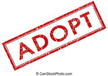 adopteren, rode plein, postzegel, vrijstaand, op wit, achtergrond