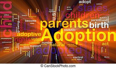 adoptie, gloeiend, woord, wolk