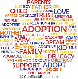 Adoption and related words, tag cloud concept. Vector illustration.