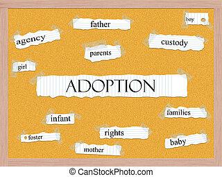 Adoption Corkboard Word Concept