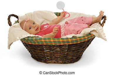 Adoption - Cute baby in a basket on a white background