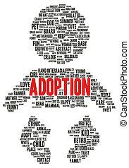 adoption, mot, nuage, forme