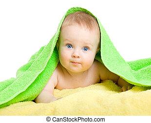adorável, bebê, em, coloridos, toalha