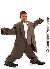 adorável, bonito, menino preto, criança, em, folgado, terno...