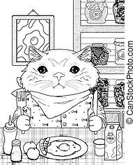 adorável, coloração, gatinho, página