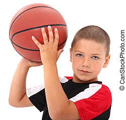 adorável, criança menino, jogador basquetebol, em, uniforme