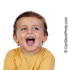 adorável, criança pequena, mostrando, seu, língua
