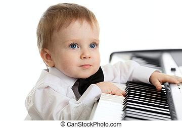 adorável, filho jogando, piano elétrico