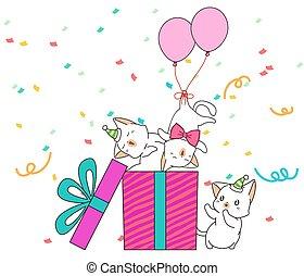adorável, gato, caráteres, caixa, presente