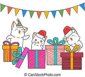 adorável, gato, presente, partido, caráteres, caixas