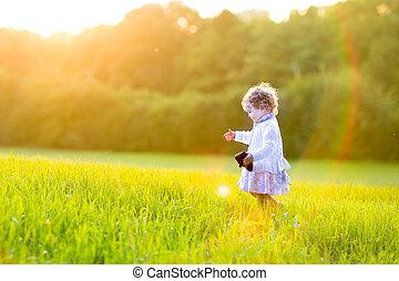 adorável, menina bebê, andar, em, um, outono, campo, em, pôr do sol