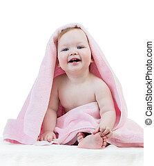 adorável, menina, toalha, bebê, feliz
