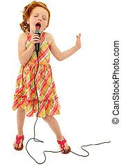 adorável, microfone, cantando, criança