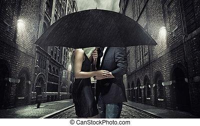 adorável, par, guarda-chuva, sob