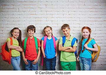 adorável, schoolkids