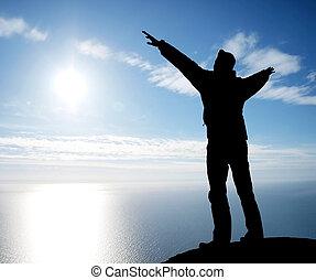 adoração, para, sol