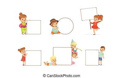 adorabile, collezione, bambini, felice, vuoto, presa a terra, ragazzi, vuoto, bandiere, illustrazione, vettore, ragazze, bianco, manifesti