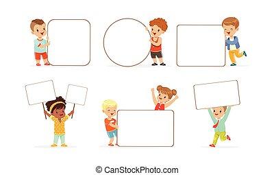 adorabile, collezione, bambini, vuoto, presa a terra, ragazzi, vuoto, bandiere, illustrazione, vettore, ragazze, bianco, manifesti