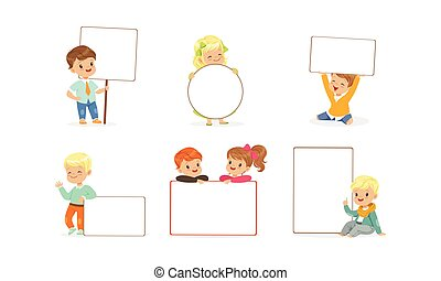 adorabile, collezione, carino, bambini, felice, vuoto, presa a terra, ragazzi, vuoto, bandiere, illustrazione, vettore, ragazze, bianco, manifesti