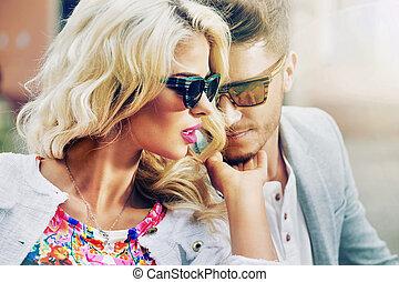 adorabile, donna, con, lei, bello, marito