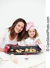 adorabile, figlia, piastra, esposizione, madre, biscotti