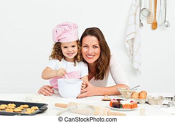 adorabile, figlia, ritratto, madre, preparare