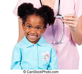 adorabile, piccola ragazza, assistere, controllo medico