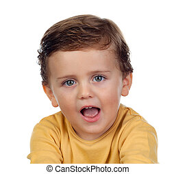 adorabile, piccolo bambino, esposizione, suo, lingua