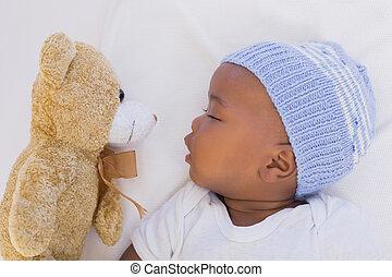 adorabile, ragazzo bambino, in pausa, pacificamente, con,...