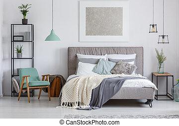 adorabile, sedia, menta, camera letto