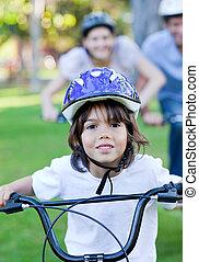 adorable, немного, мальчик, верховая езда, байк