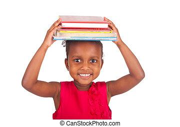 adorable, africaine, petite fille, à, livre