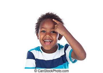 Adorable afroamerican child thinking