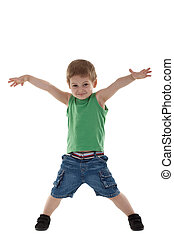 happy little boy with hands in air