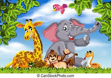 Adorable animals in nature scene