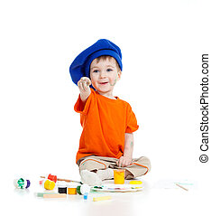adorable artist child with color paints isolated on white