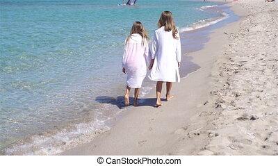 adorable, avoir, plage, peu, amusement, filles