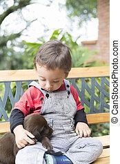 adorable, bébé, et, sien, chien