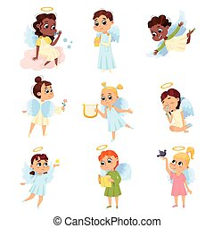 Adorable Baby Angels Set, Cute Angelic Boys and Girls with Wings and Halo Cartoon Style Vector Illustration