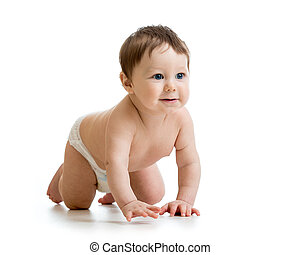 Adorable baby boy learning to crawl. Cute child crawling on floor. Kid isolated on white background