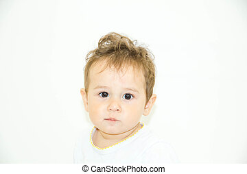 Adorable baby boy sitting on the floor, close up, Asian, black eyes, hairstyle