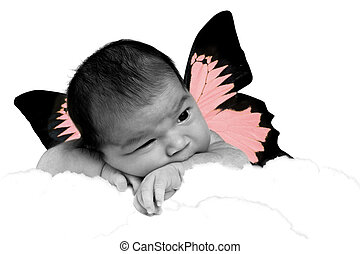 Adorable Baby Girl as a Butterfly