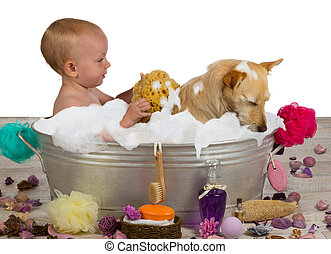 Adorable baby girl bathing with her dog - Cute little blond...