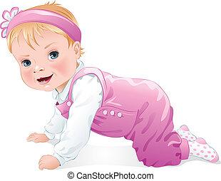 Adorable baby girl smiling crawling