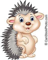 Adorable baby hedgehog sitting - Vector illustration of...