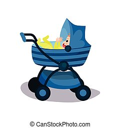 Adorable baby in a blue modern baby pram, transporting of small children with comfort cartoon vector illustration
